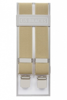 Plain Beige Elastic Trouser Braces With Large Clips